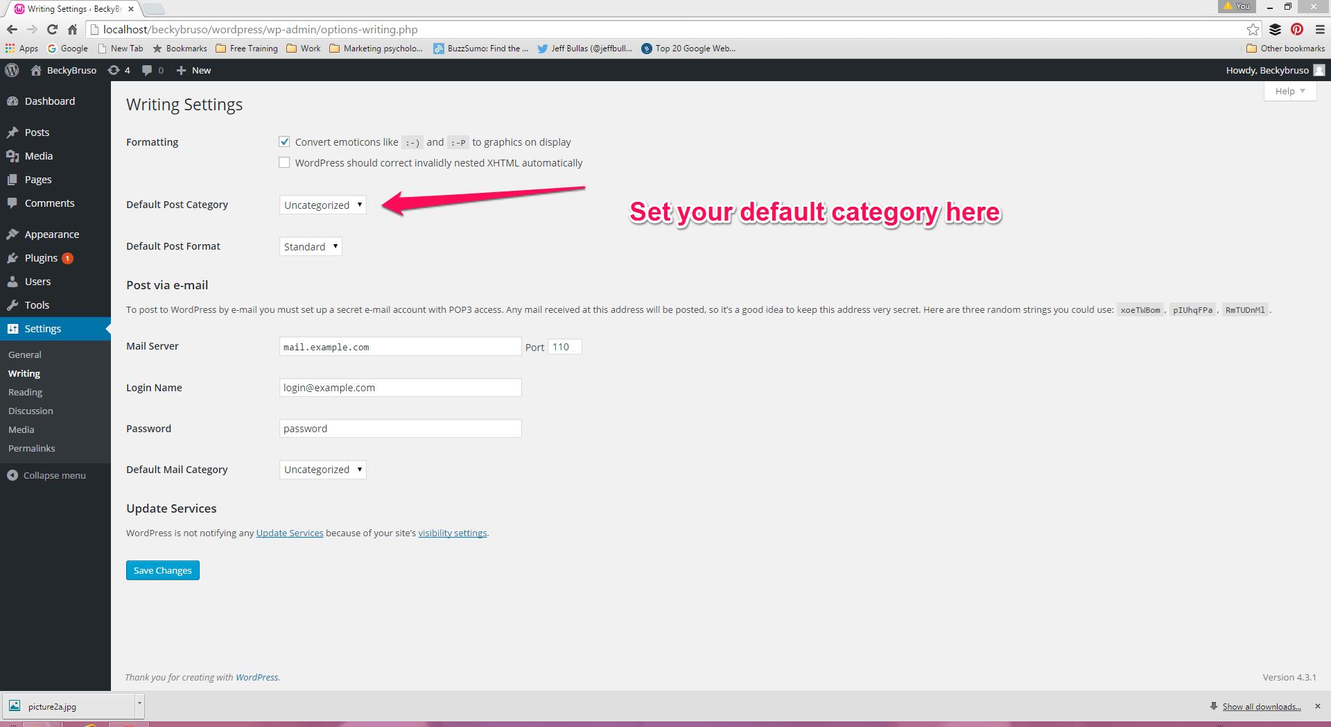 Wordpress - Set up a default post category