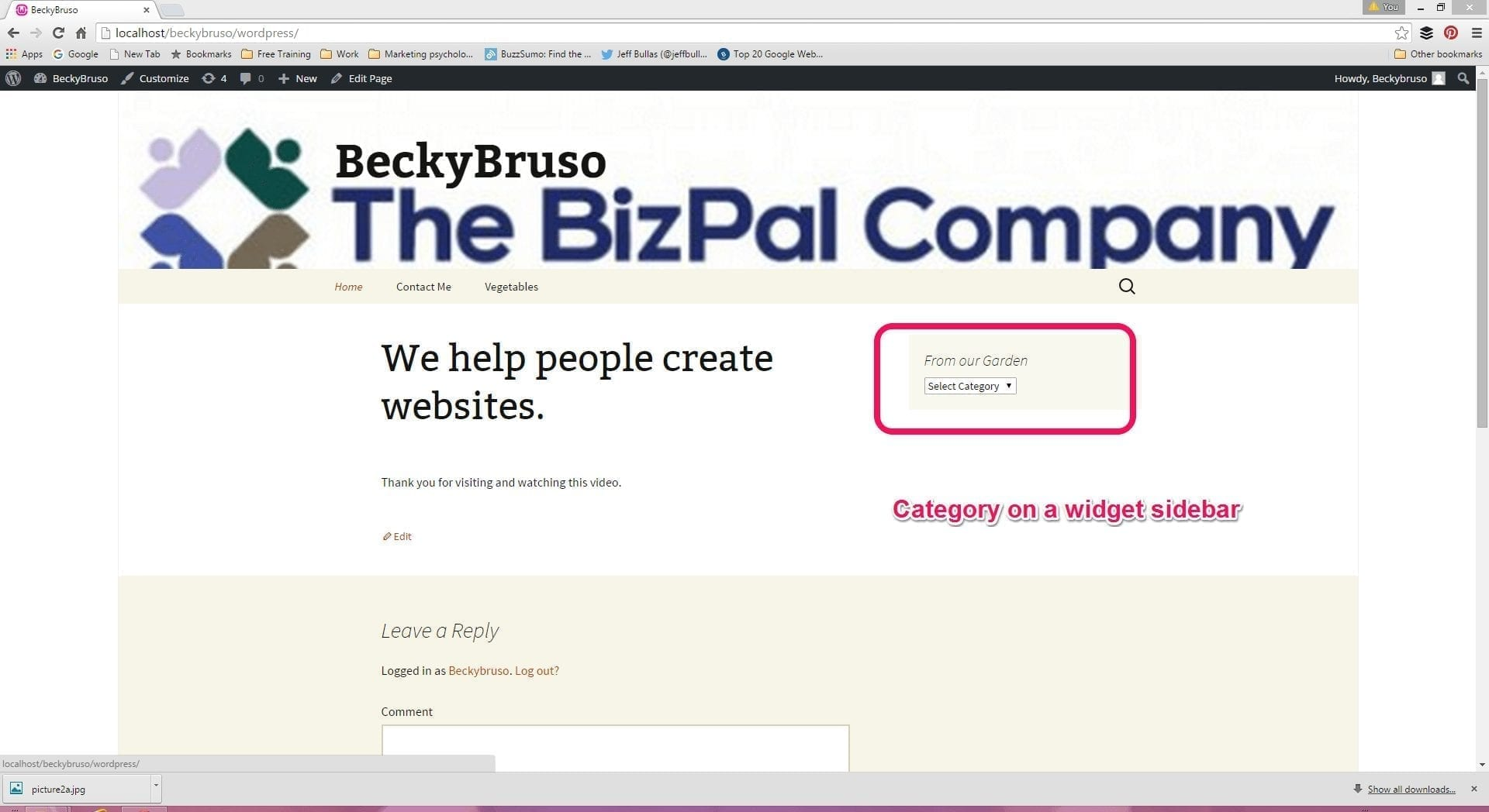 WordPress -Category Sidebar Drop Down List Web Site Display