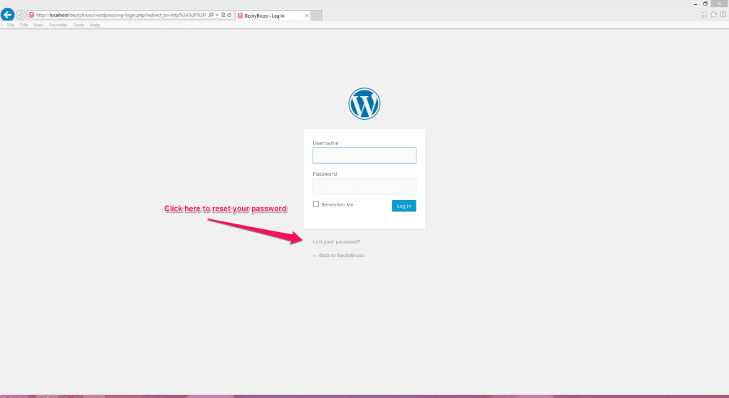 WordPress Reset Password link